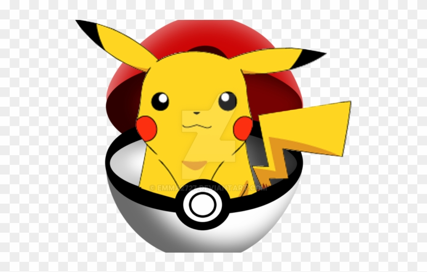 Pikachu coming out of. Pokeball clipart closed
