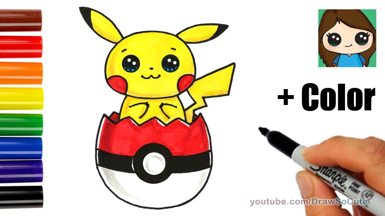 Pokeball clipart drawn. How to draw pikachu