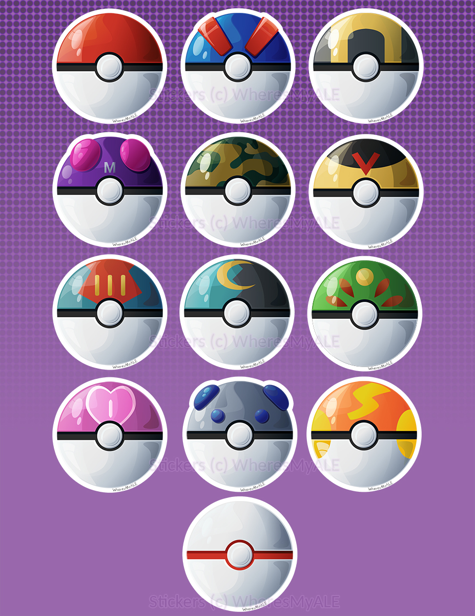 Sticker sheet by wheresmyale. Pokeball clipart net