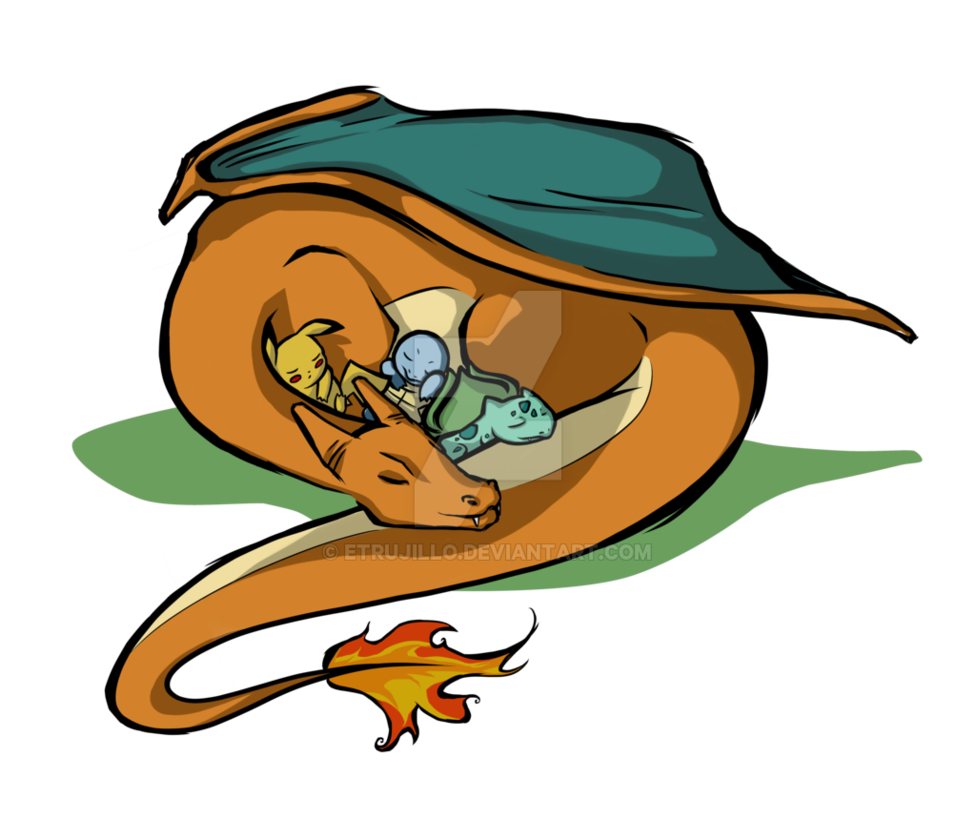 Pokeball clipart open. Sleeping charizard and friends