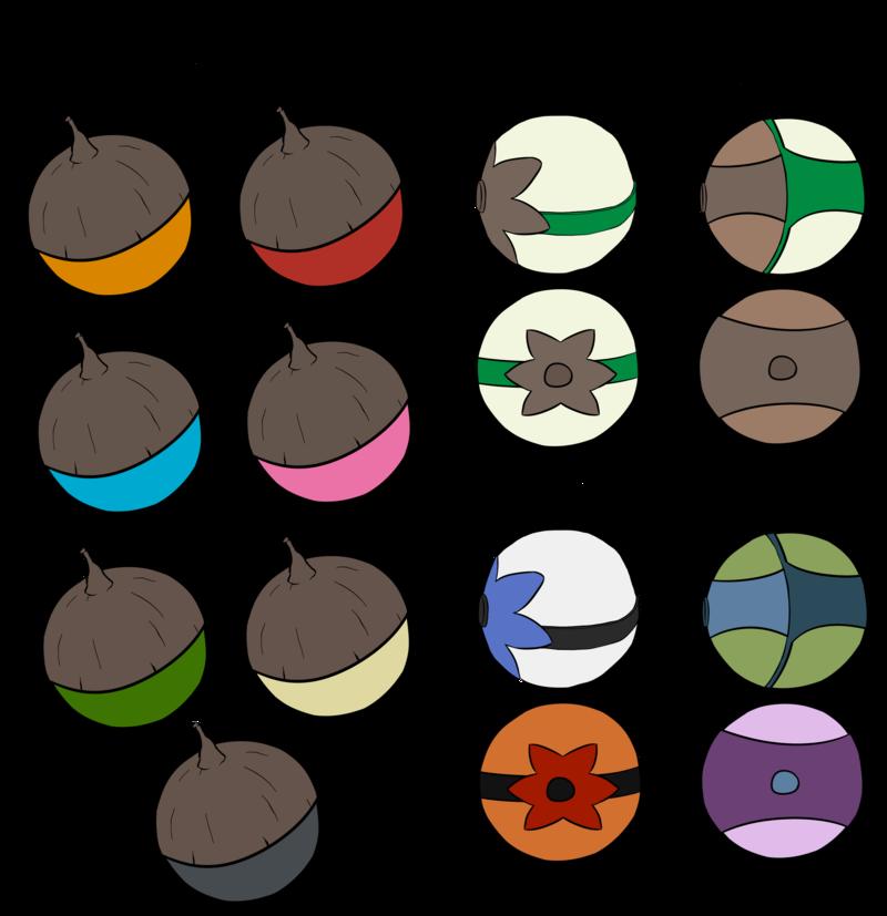Duality pokeballs and apricorns. Pokeball clipart open