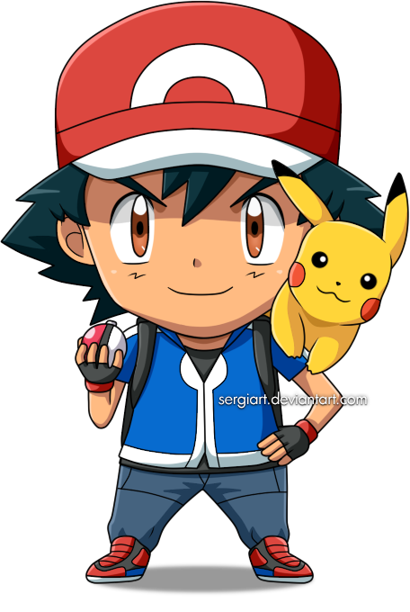 Chibi ash by sergiart. Pokeball clipart pokemon xy