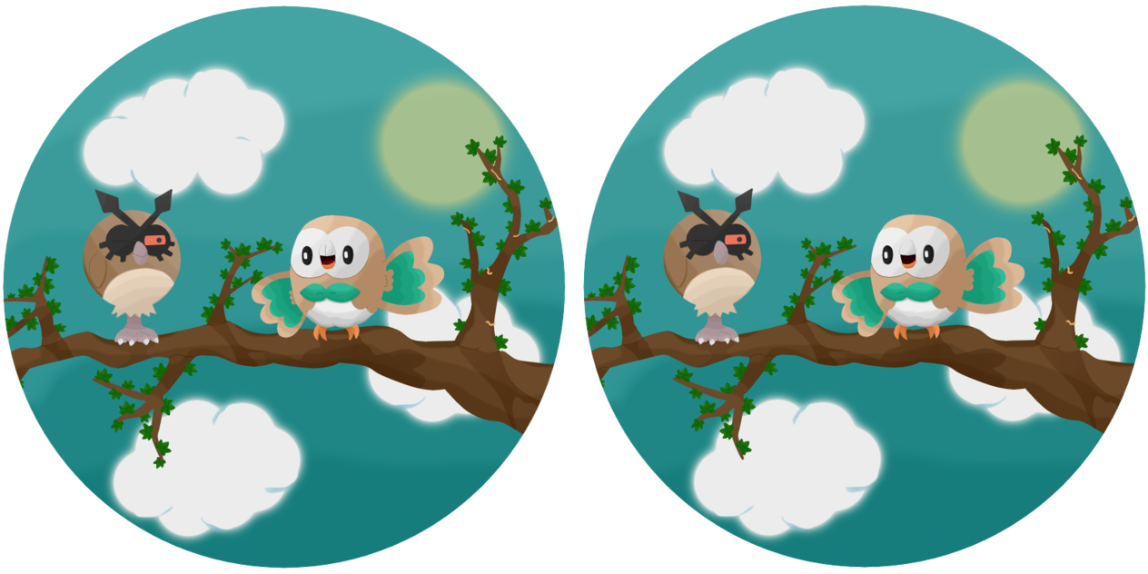 Spot the difference and. Pokeball clipart rowlet