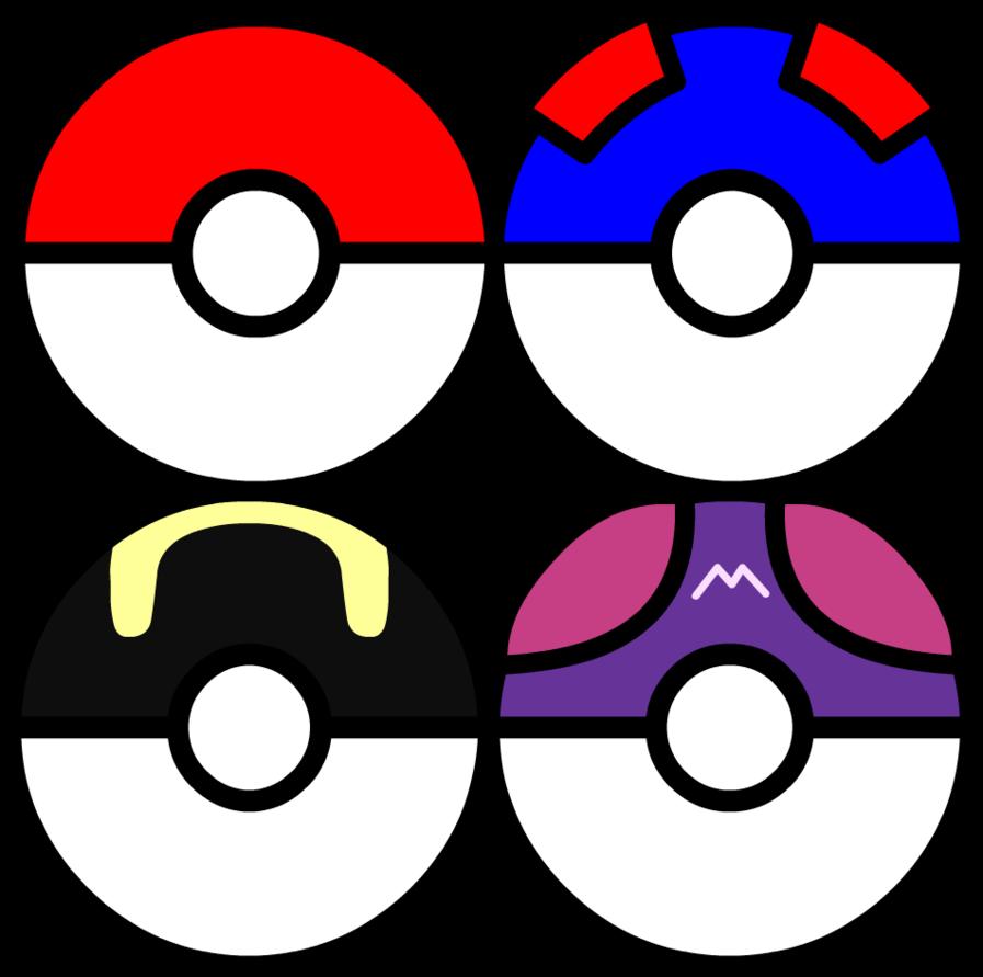 Pokeballs of the st. Pokeball clipart vector