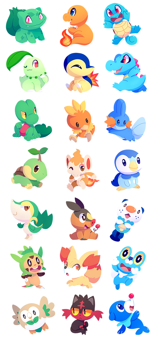 Pokemon starters by chocochaofun. Pokeball clipart wobble