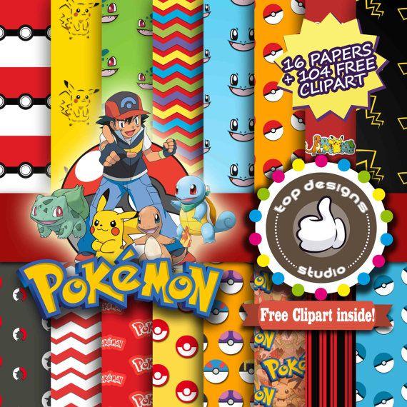 Pokemon clipart paper. Sale digital