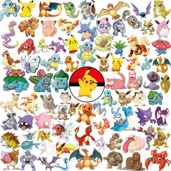 first generation and. Pokemon clipart paper