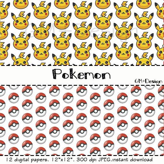 Digital instant download . Pokemon clipart paper