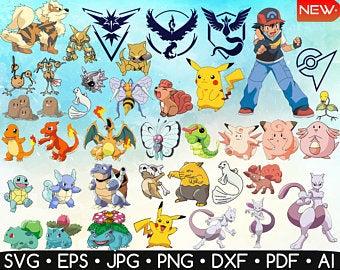 Pokemon clipart pdf. Vector etsy