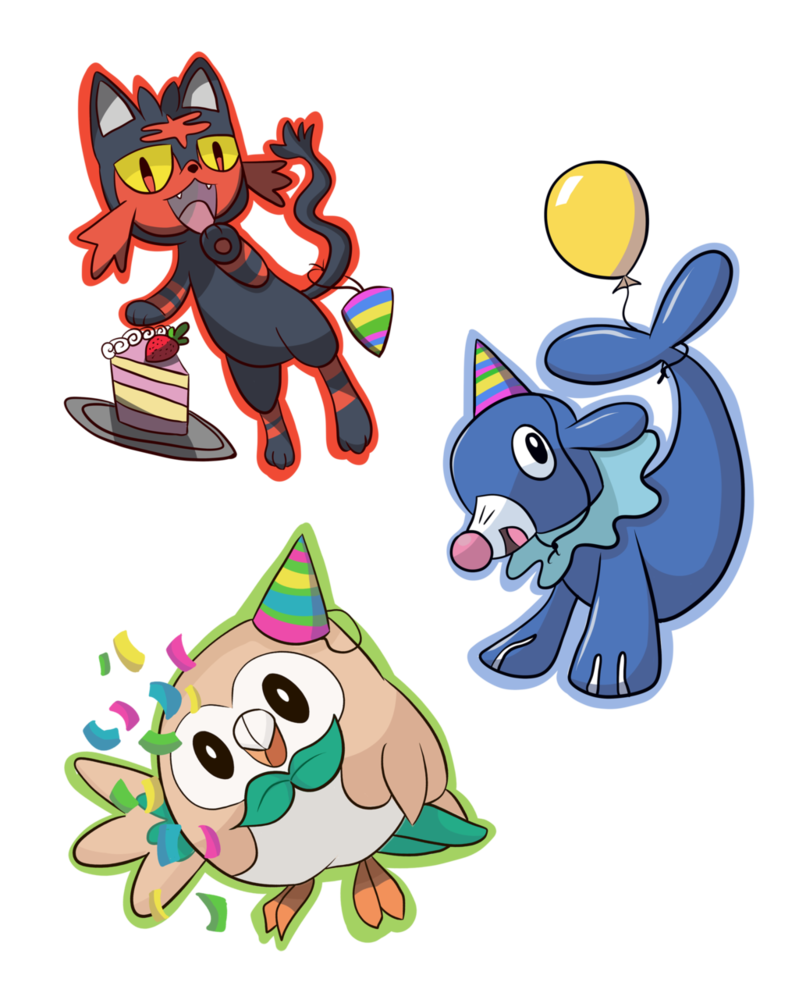 Pokemon clipart sticker. Party stickers by aloelans