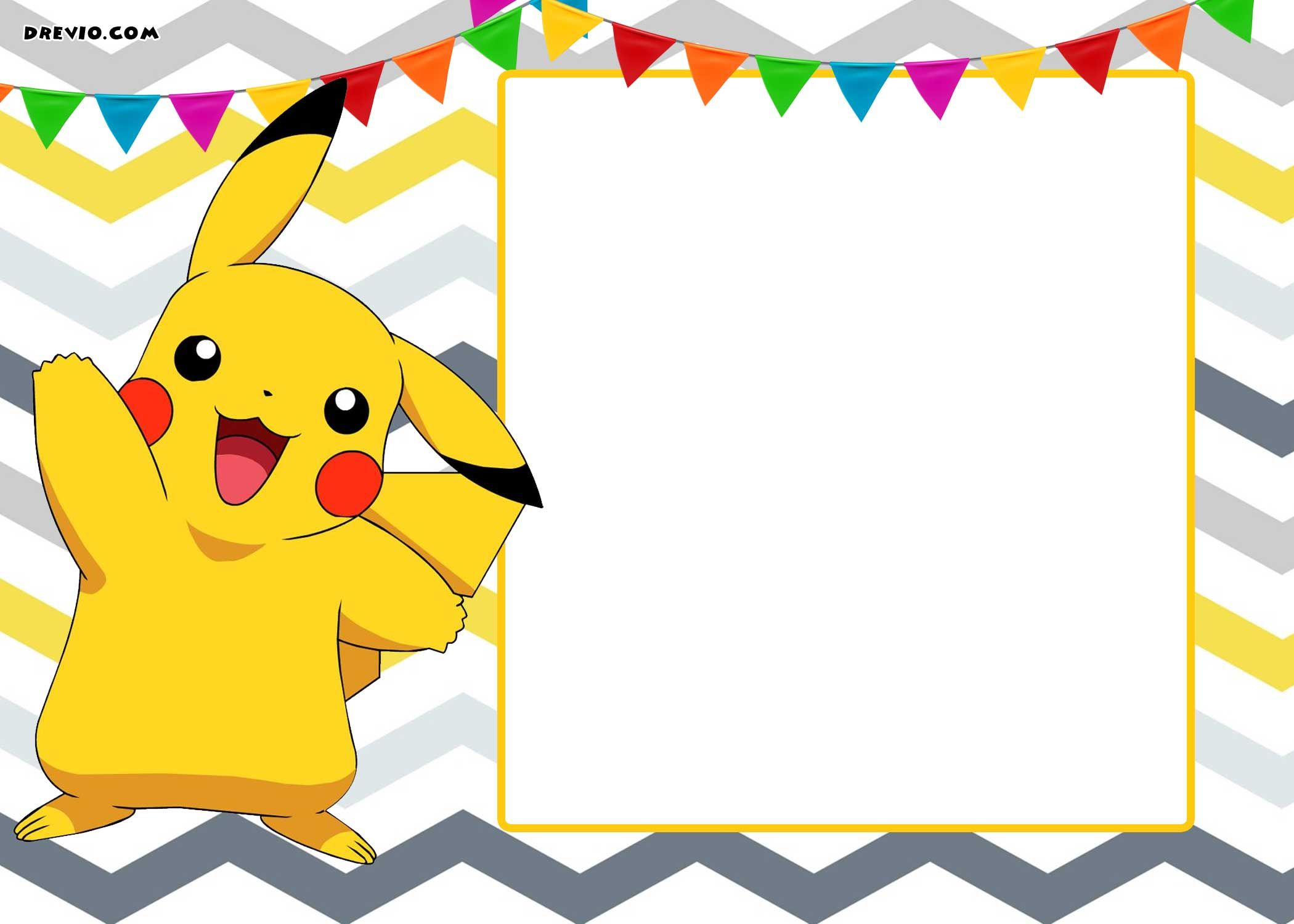 Pokemon clipart template. Free printable invitation templates