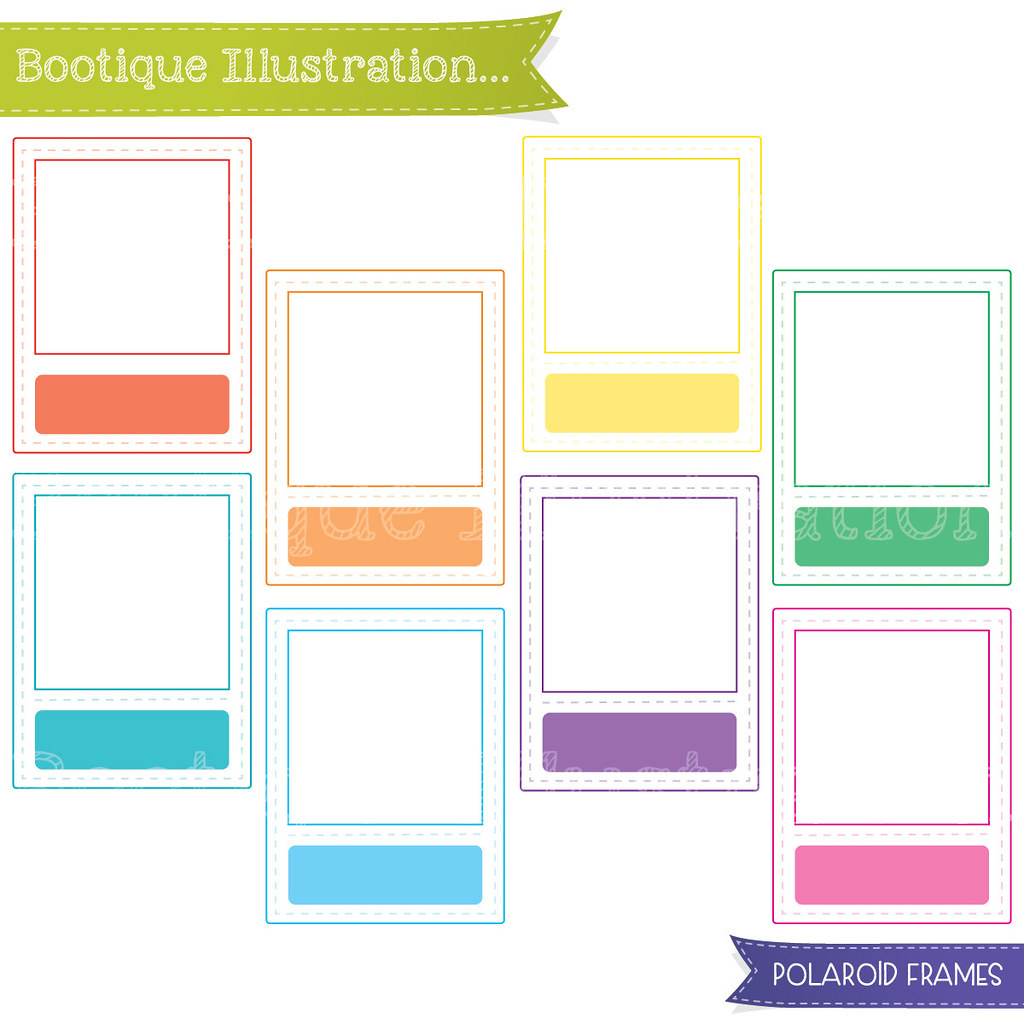Polaroid clipart colourful. Frames set rainbow ouline