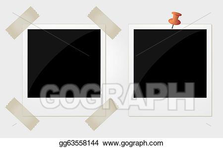 Polaroid clipart pinned. Vector two photos illustration