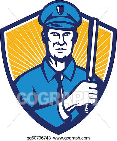 Vector illustration officer shield. Policeman clipart police baton