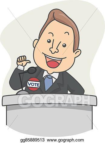 Politics clipart politician speech. Vector illustration man candidate