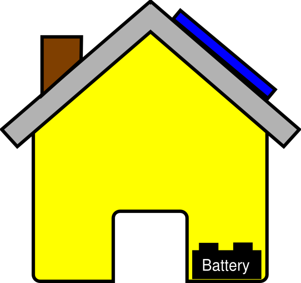 Yellow house with solar. Politics clipart panel