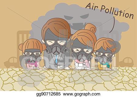 Eps illustration cartoon family. Pollution clipart bad air