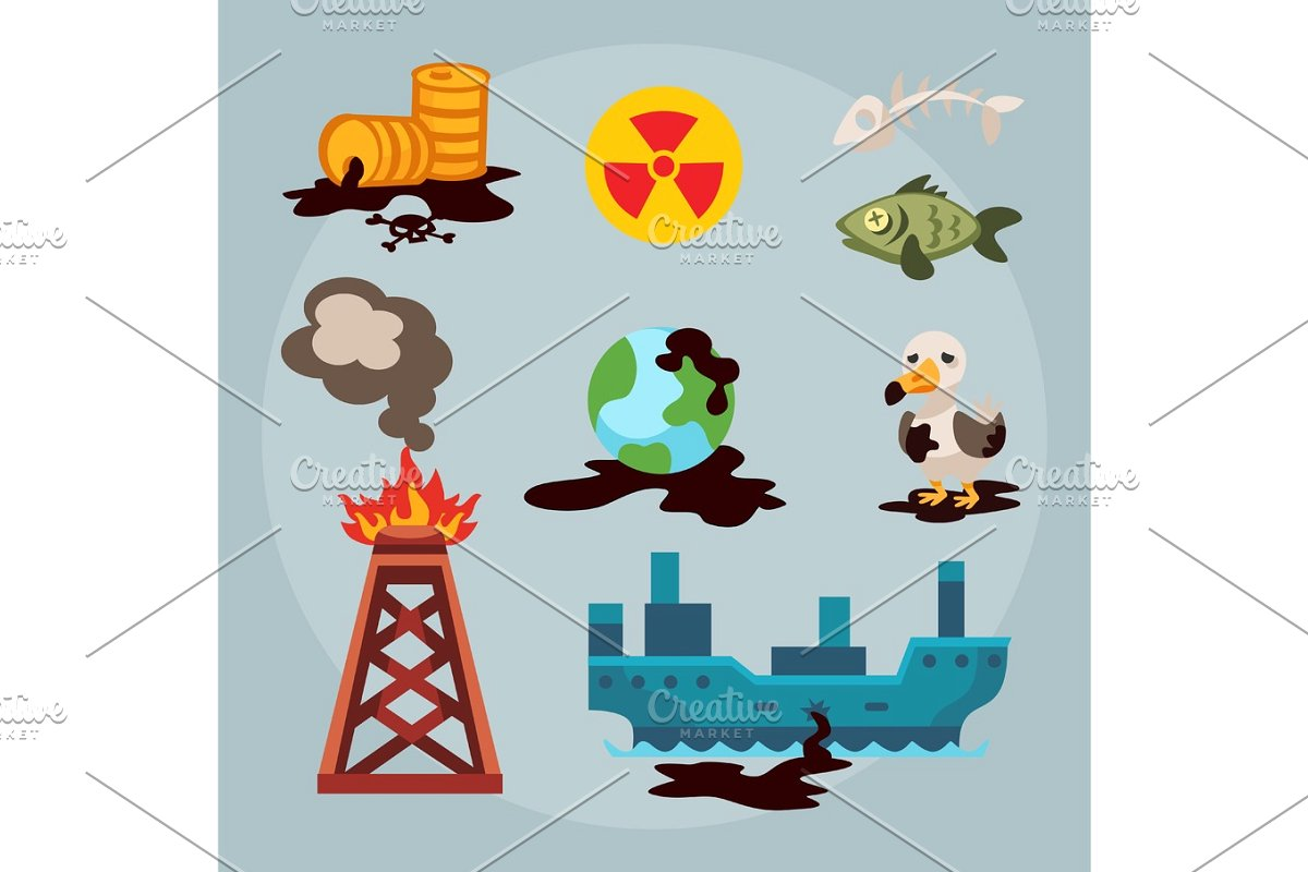 Ecological problems environmental oil. Pollution clipart deforestation