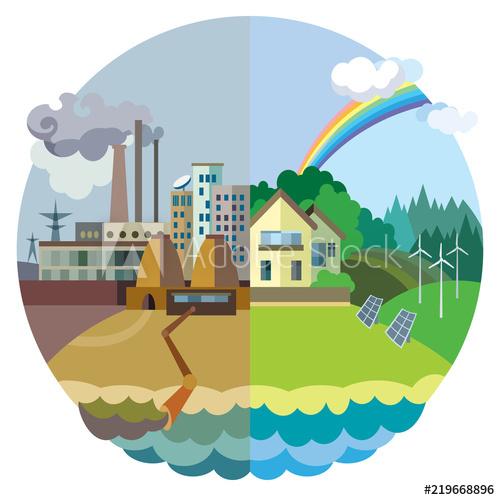 Pollution clipart destroyed environment. Ecology concept vector urban