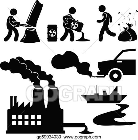 Pollution clipart destroyed environment. Eps illustration global warming