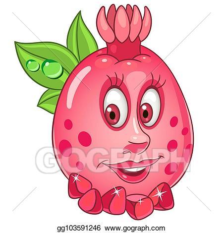 Eps vector fruit stock. Pomegranate clipart cartoon