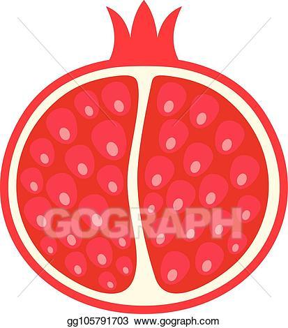 Vector of icon flat. Pomegranate clipart half