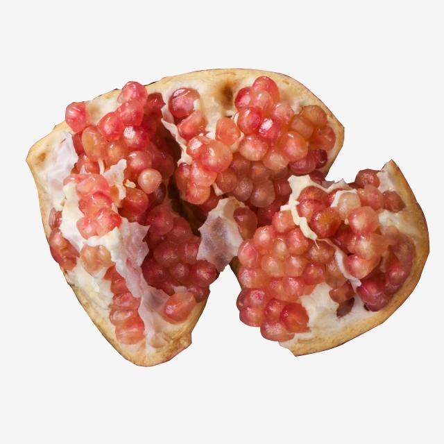 Pomegranate clipart half. Real shot cracked fruit