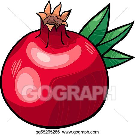 Vector stock cartoon illustration. Pomegranate clipart kind fruit