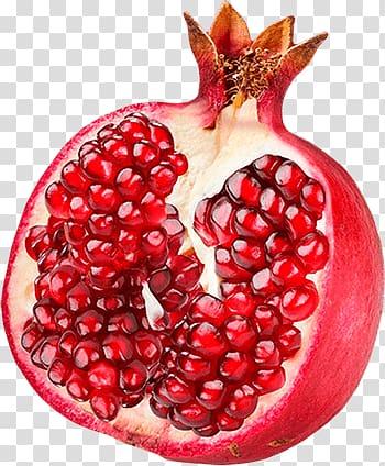 Pomegranate clipart single. Red fruit open transparent