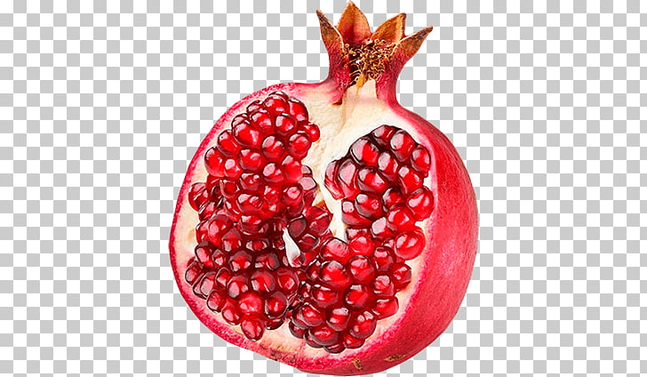 Pomegranate clipart single. Open red fruit png