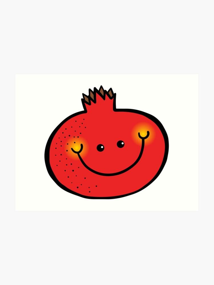 Happy doodle art print. Pomegranate clipart smiley fruit