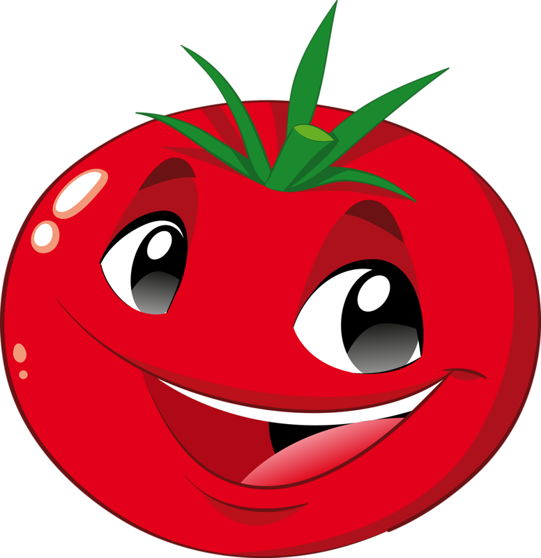 Vegetable tomato funny fruits. Pomegranate clipart smiley fruit