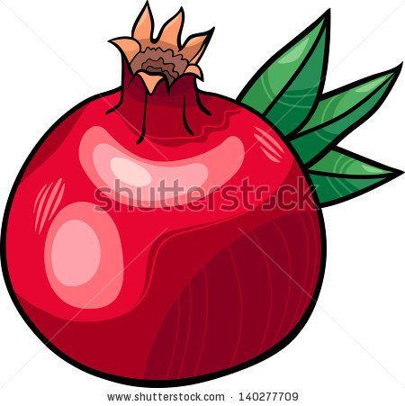 Cartoon illustration of fruit. Pomegranate clipart vector