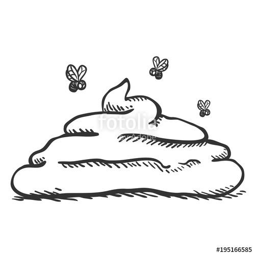 Poop clipart doodle. Vector single sketch stock