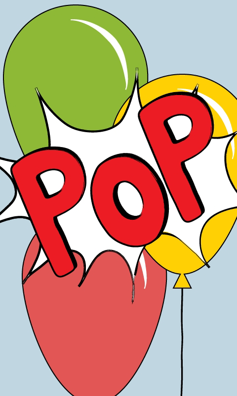 Birthday yellow text . Pop clipart cartoon balloon