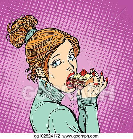 Pop clipart piece. Vector stock woman eating