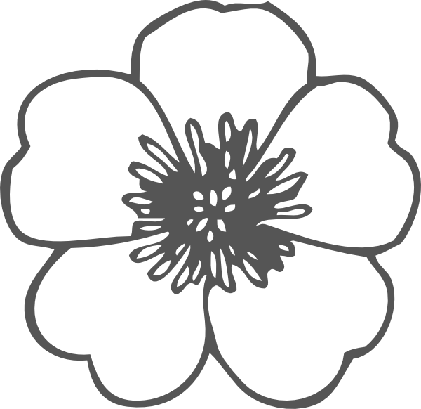 Clip art at clker. Poppy clipart black and white
