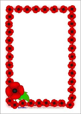Remembrance day a page. Poppy clipart border paper