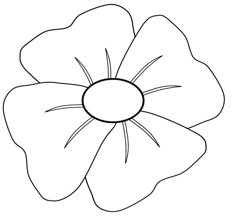 Clip art to colour. Poppy clipart colouring