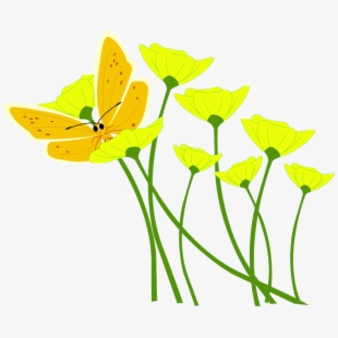 Flower butterfly spring plant. Poppy clipart nature