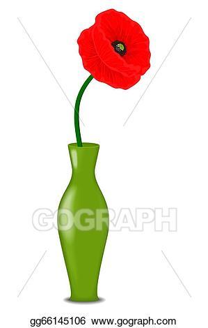 Poppy clipart one. Vector stock red flower