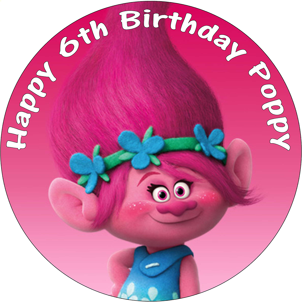 Poppy clipart pink poppy. Trolls personalised edible round