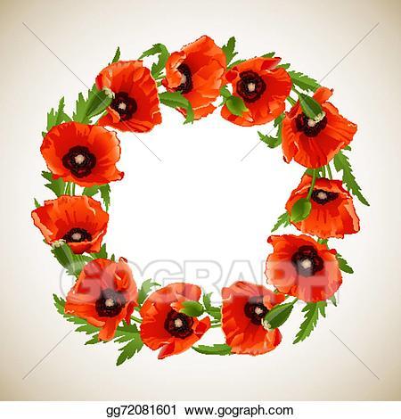 Vector stock of poppies. Poppy clipart poppy wreath