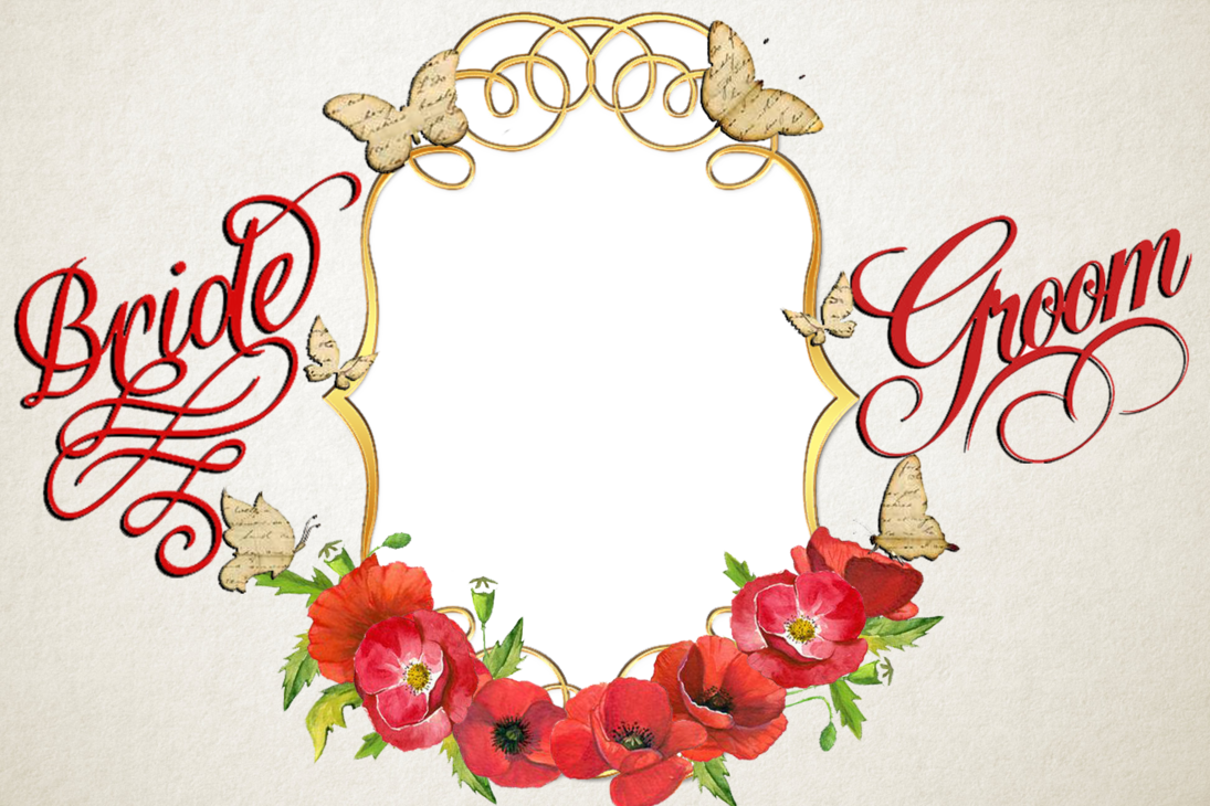 Poppy clipart poppy wreath. Red wedding frame by