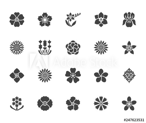 Flowers flat glyph icons. Poppy clipart solid flower