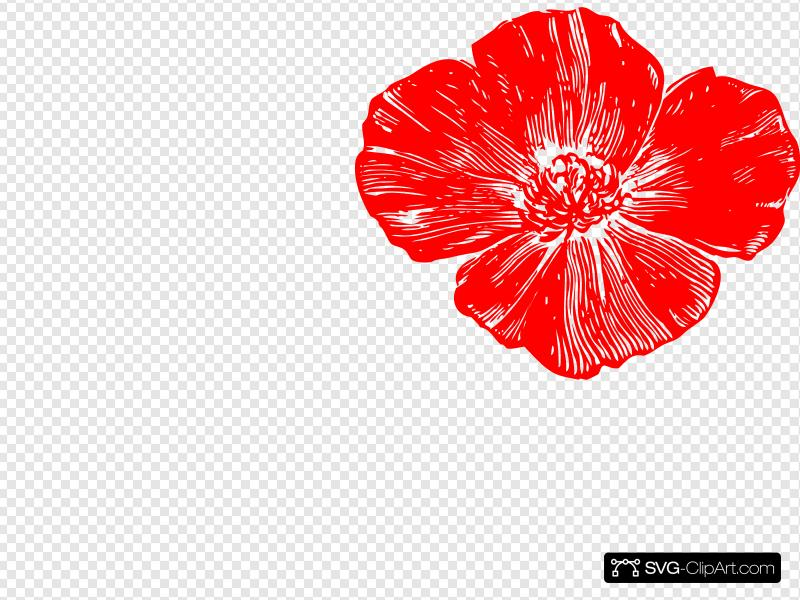 Red clip art icon. Poppy clipart svg