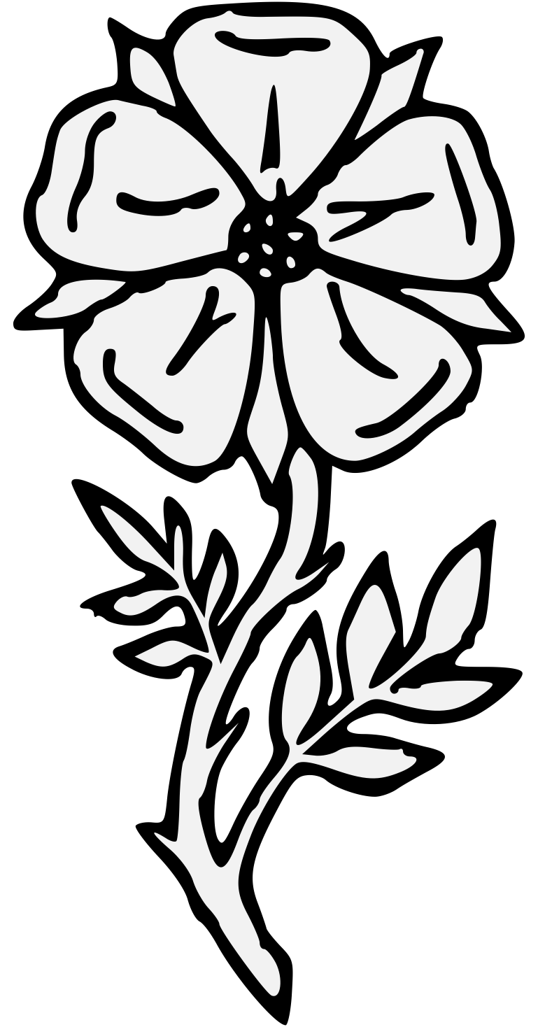 Poppy clipart traceable. Roses group rose heraldic