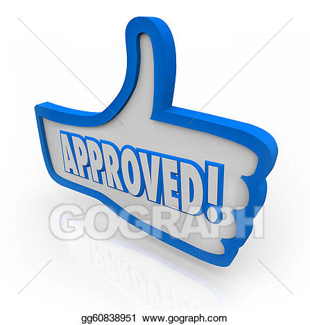 Stock illustrations approved blue. Positive clipart acceptable