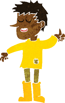 Cartoon poor boy with. Positive clipart animated