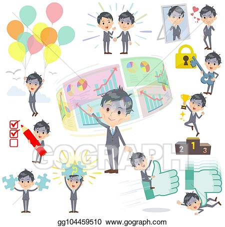 Positive clipart bad. Eps vector gray suit